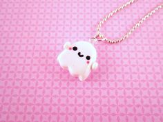 Ghost Kawaii Polymer Clay Pendant Necklace. $9.00, via Etsy.
