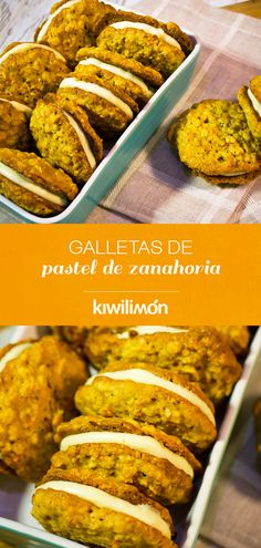 Galletas de Pastel de Zanahoria If you love him cake, these carrot cake cookies with cream cheese filling will become your favorite. Veggie Recipes, Sweet Recipes, Cookie Recipes, Dessert Recipes, Healthy Recipes, Fancy Desserts, No Cook Desserts, Carrot Cake Cookies, Healthy Menu