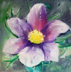 Ölmalerei - Blumenbild - Regentropfen - Unikat - ein Designerstück von Manuela-Jung bei DaWanda