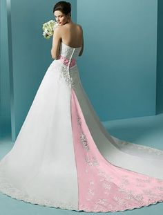 pink and white wedding dress it's a wedding dress but I would not mind wearing it as a evening dress