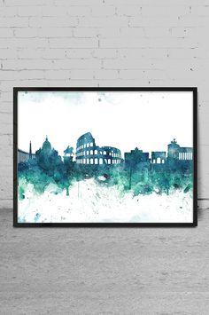 Rome art Watercolor Art print Rome skyline Wall Art by MyVisualArt