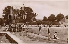 About to take a plunge at Sandford Parks Lido in Cheltenham circa 1930s.