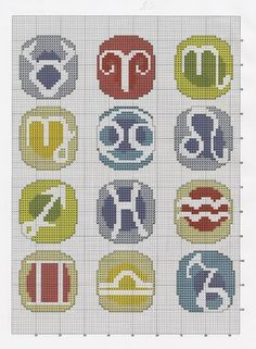 Zodiac Sigils with Color Background Free Cross Stitch / Plastic Canvas Patterns