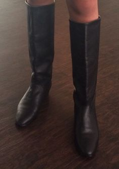 VTG 1980s IPANEMA BLaCk LEATHER TALL RIDING BOOTS  Size 8 #IPANEMA #RidingEquestrian