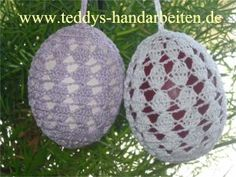 Gehäkeltes Osterei2 Beaded Ornaments, Christmas Ornaments, Apple Decorations, Crochet Snowflakes, Easter Crochet, Home Accessories, Wall Decor, Knitting, Crafts