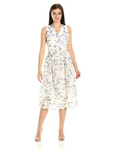 Ivanka Trump Womens Midi Floral Organza Dress IvorySea Blue 8 ** You can find more details by visiting the image link.
