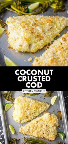 """Coconut Crusted Cod Recipe Coconut crusted cod is really simple baked cod with panko crumbs and shredded coconut. My """"secret Crusted Cod Recipe, Panko Crusted Cod, Seafood Pasta Recipes, Lobster Recipes, Cod Recipes, Fish Recipes, Coconut Recipes, Healthy Recipes, Healthy Meals"""