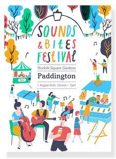 Tourist got in touch to commission me to create colourful, summery illustrations and hand drawn type for a festival poster. Sounds and Bites Festival was a one day food and music extravaganza, held in Norfolk Square Gardens, Paddington. Part of...