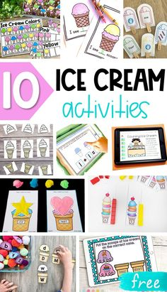 These FREE ice cream printables include a variety of fun literacy and math activities. They are great for kids in Pre-K, Kindergarten and First Grade. First Grade Activities, Kids Learning Activities, Educational Activities, Summer Activities, Preschool Activities, Preschool Charts, Learning Quotes, Teaching Resources, Teaching Ideas