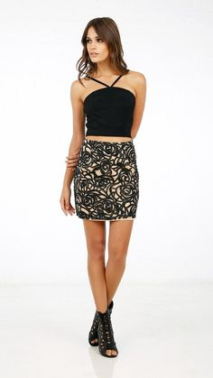 ANGL | Abstract Patterned Mini Skirt
