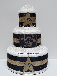 Navy Blue And Gold Twinkle Twinkle Little by LanasDiaperCakeShop