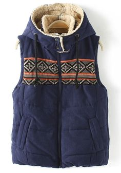 Navy Blue Print Hooded Band Collar Cotton Vest