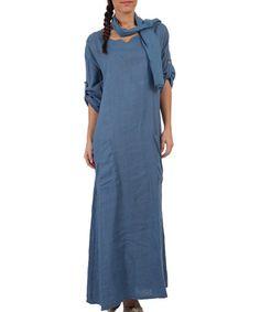 This Indigo Blue Linen Maxi Dress & Scarf - Plus Too is perfect! #zulilyfinds