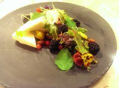 Raspberry, lemon balm, parsnip, and chevre salad