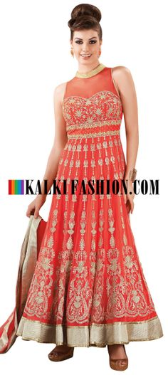 Buy Online from the link below. We ship worldwide (Free Shipping over US$100) http://www.kalkifashion.com/orange-anarkali-suit-with-zari-embroidery-8505.html Orange anarkali suit with zari embroidery