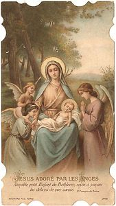 Antique Vintage French Holy Prayer Card Mary & Baby Jesus with Angels | eBay