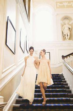 Gorgeous bride + bridesmaid