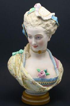 Antique Victorian Lady Bust Porcelain Hand Painted