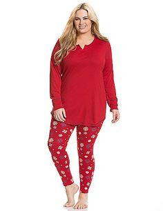 2-piece capri legging pj set by Dreams & Co.® | Plus Size Pajamas ...