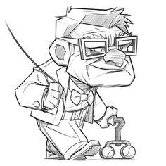 Pixar Drawing Quick sketch of one of my favorite Pixar characters. Funny Cartoon Drawings, Cartoon Sketches, Art Drawings Sketches, Disney Drawings, Easy Drawings, Cartoon Art, Classic Cartoon Characters, Drawing Cartoon Characters, Character Drawing