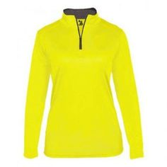 Shop our complete line of sporting goods and get the Badger Ladies' B-Core Zip today! Tennis Uniforms, Badger Sports, Seal Logo, Active Wear For Women, Wholesale Clothing, Pullover, Yellow, Lady, Sleeves
