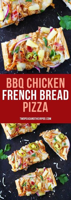 BBQ Chicken French Bread Pizza made with store-bought French bread and topped with BBQ sauce, chicken, bacon, mozzarella cheese, pineapple, jalapeño, and cilantro. This easy pizza is a favorite weeknight meal.