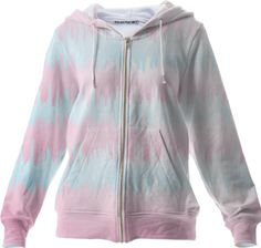 Pretty Pastel Pink Blue Ombre Rough Striped Hooded Sweatshirt top from Print All Over Me