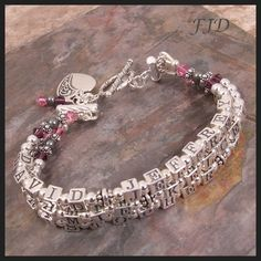 Perfect for Mother's Day!!  There's still time to order. Sterling Silver and Crystal Name Bracelet