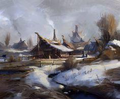 humble village by Skvor on DeviantArt Fantasy landscape Fantasy village Art