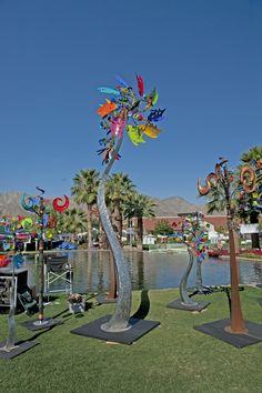 Sculpture by Andrew Carson at La Quinta Arts Festival. Kinetic Wind Spinners, Garden Wind Spinners, Flower Ideas, Flower Art, Marble Machine, Art Festival, Medium Art, Metal Art, Cool Art