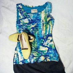 """Carrie Allen size small ruffled sleeveless top EUC Vibrant blue green and yellow, 23"""" shoulder to hem. EUC,  fully lined. If you like the look, grab the shoes and skirt and BUNDLE!!! Carrie Allen Tops"""