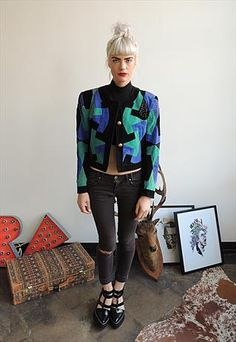 80's Black, Green  Blue Suede Box Jacket