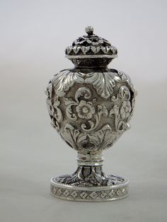 Sterling Silver Pedestal Pounce or Sand Shaker - Repousse by Unknown