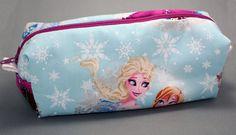 Boxy Makeup Bag - Frozen Anna and Elsa in Light Blue Zipper Makeup Bag or Pencil Pouch by LittlePeachFuzz