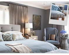 Thinking this for the bedroom: smoky blue walls, slightly varied shades of tan for headboard & curtains, and a lighter blue bedspread.