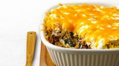 73% less total fat • 41% less cholesterol than the original recipe. Assemble this meaty, lasagna-style dish up to 24 hours ahead and chill until baking time.