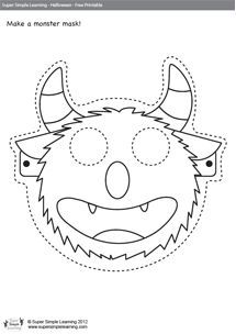 Book for story time = Billy Monster's Daymare - Free Halloween Worksheets for kids from Super Simple Learning. Includes mask, matching and fill-in-the-blank. Printable Halloween Masks, Halloween Worksheets, Halloween Activities, Halloween Themes, Halloween Crafts, Holidays Halloween, Monster Party, Monster Mask, Big Green Monster