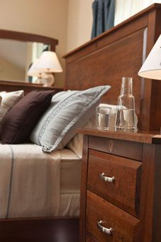 Simply Amish Brookfield Bed and Nightstand, Solid Wood Cherry in Bourbon Finish.