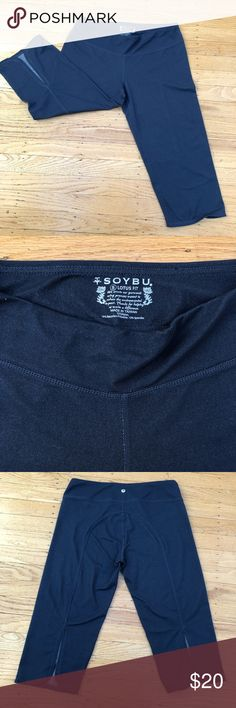 Capri yoga pants Loose fit Capri yoga pants by Soybu. Color is heathered dk blue/gray.  In great condition. Soybu Pants Capris