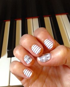 """Love this combo! Jamberry nail wraps - """"sheet music"""" paired with """"black and white skinny stripe"""""""