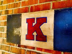 62c6aaa9913 KU! Kansas Jayhawks Distressed Sign on Repurposed Wood with State College  of Your Choice