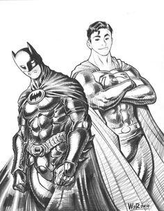 Batman and Superman sketch by Adam Warren