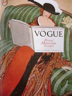 Vogue March Art Deco fashion cover art by George Wolfe Plank. Displays fashionable woman with hat on green couch reading Vogue. Plank had a long-term association with Vogue,. Poster Art, Art Deco Posters, Vintage Posters, Vogue Vintage, Vintage Vogue Covers, Vintage Glamour, Vintage Style, Old Magazines, Vintage Magazines