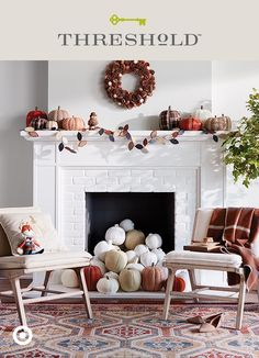 Here's how to get this easy pumpkin panache: paint pumpkins in white and neutral tones, or whatever funky-fun fall colors fit your decor, and fill the fireplace–or any place, really. Mix in a few cable knit fabric pumpkins from our Halloween decor collection, Hyde & Eek, to add visual interest. Then pull up a chair and cozy up to autumn in style. Threshold, only at Target.