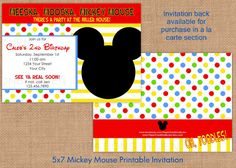Mickey Mouse Printable Birthday Invitation by PaperCreationsByJen, $12.00