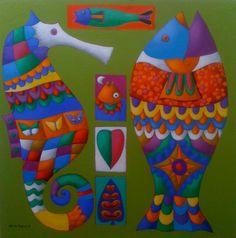 serie '' arte marino '' acrilico sobre lona - 2014 . obra original .