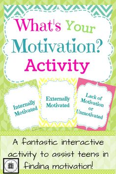 This is an interactive activity for middle and high school students to help figure out what motivates them. This is also fantastic to get them re-motivated at time of the year!