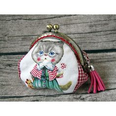 Handmade Fabric Coin Purse with Vintage Style Metal Frame from Gingerbee The Handmade #Handmade#Fabric#Coin#Purse#Vintage #Style#Metal#Frame#cat#fringe#red#pink#check#ramie#cotton#pouch#bags#gift#birthday