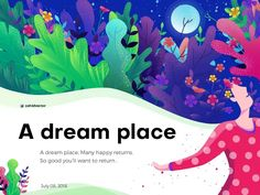 A dream place Illustration banner flower human women girl night home page poster color nature leaf illustration Dream Illustration, Website Illustration, Digital Illustration, E Design, Vector Design, Layout Design, Email Design, Graphic Design, Banner Design Inspiration