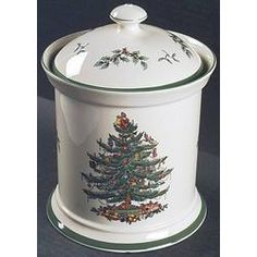 Marvelous Spode Christmas Cookie Jar Green.Tree.